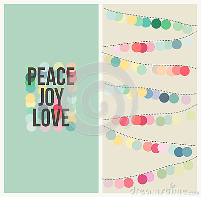 Peace love joy. Multicolored Christmas design