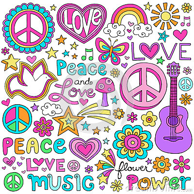 Peace Love and Music Notebook Doodles Vector Set