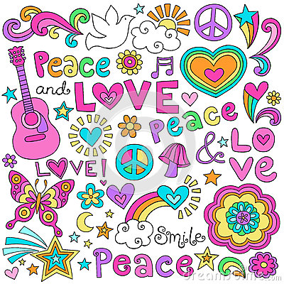 Free Peace, Love, & Music Notebook Doodles Vector Set Stock Photography - 28768312