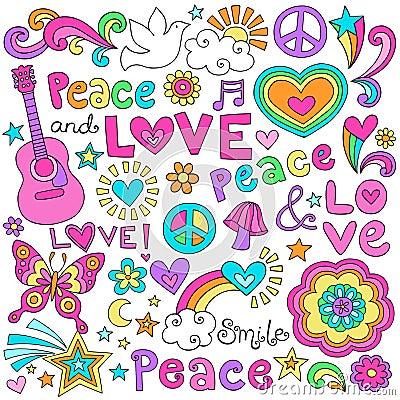 Peace, Love, & Music Notebook Doodles Vector Set