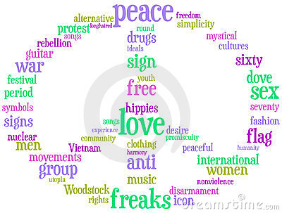 Peace and love sign tag cloud