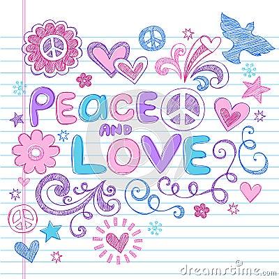 Peace & Love Sketchy Notebook Doodles Vector Set