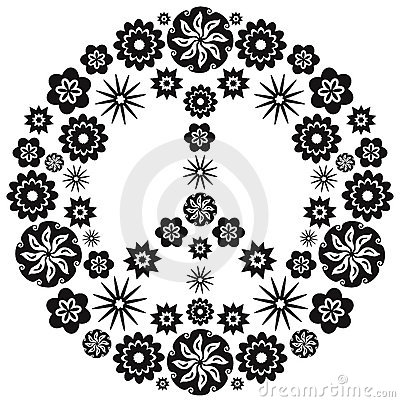 Peace and Love Symbol made of Flowers Vector Illustration