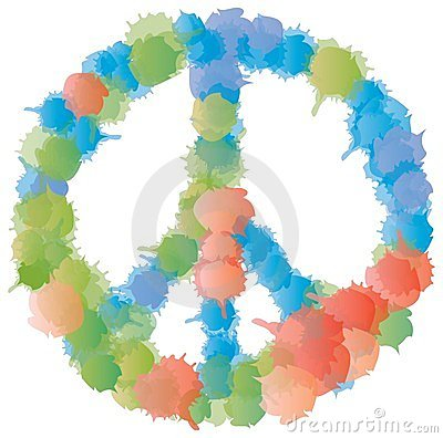 Peace and Love Symbol - Multicolored Splashes
