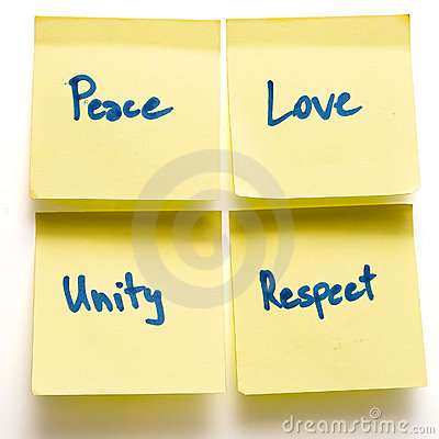 Free Peace Love Unity Respect Yellow Post-its On Board Royalty Free Stock Image - 12182296
