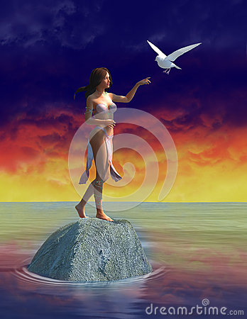 Free Peace, Love, White Dove, Woman Stock Images - 60337634