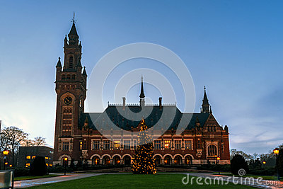 Peace Palace Christmas tree at Blue hours