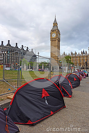 Peace protesters near the Big Ben Editorial Photo