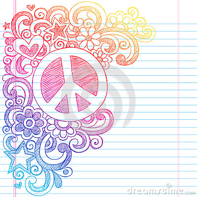 Peace Sign Sketchy Doodles Back to School Vector I