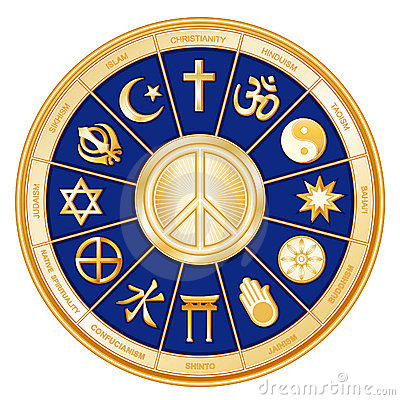 Peace Symbol, Many Faiths, Blue
