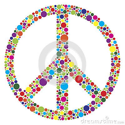 Peace Symbol with Polka Dots Illustration