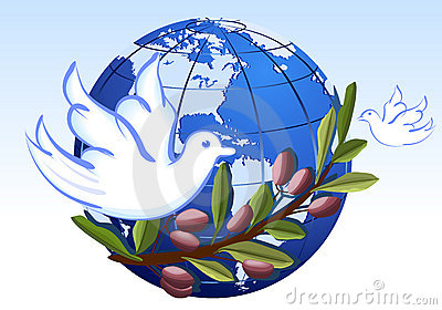 Peace to the Earth with white doves