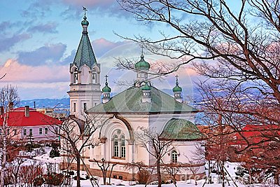 The peaceful church in winter season at