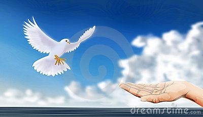 Peaceful dove with extend hand