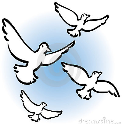 Peaceful Doves Flying