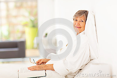 Peaceful elderly woman