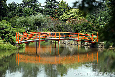 Peaceful Japanese style bridge with reflections