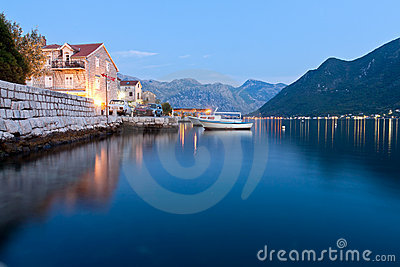 Peaceful lake in Perast, Montenegro