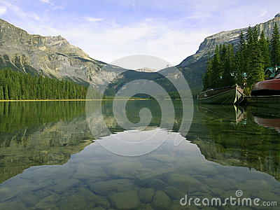 Peaceful lake in Rockie Mountain