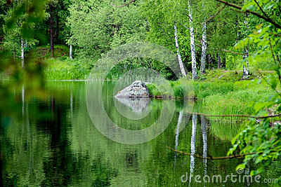 Peaceful lake in summer