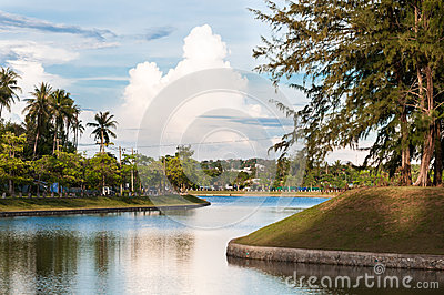 Peaceful lake in tropical town