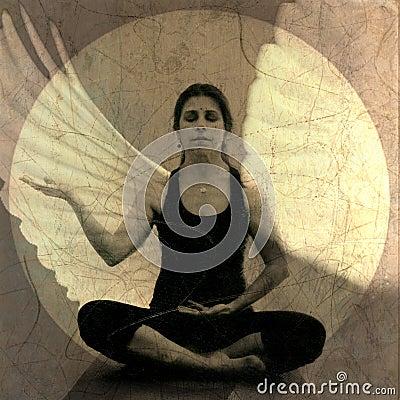 Free Peaceful Meditation Yoga Woman Angel Stock Photos - 18354193