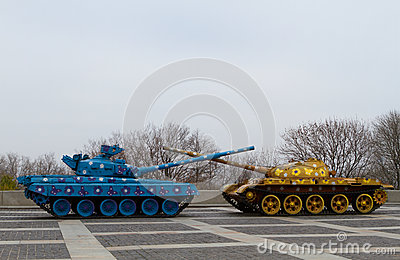 Peaceful recolored tanks on the place
