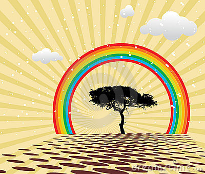 Peaceful summer with rainbow