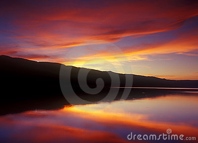 Peaceful sunset on a calm lake