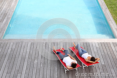 Peaceful time by the pool