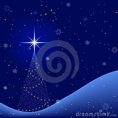 Peaceful winter night with snowfall and christmas