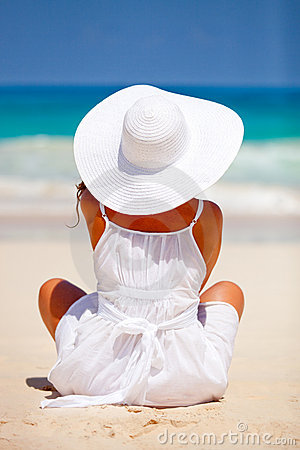 Peaceful woman at the beach