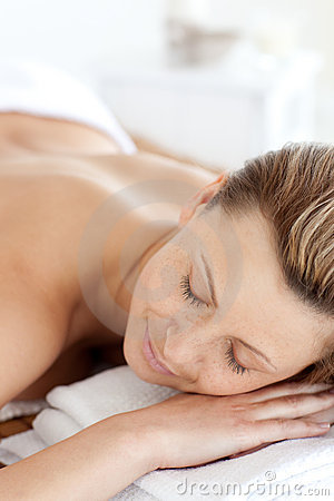 Peaceful woman having a spa treatment