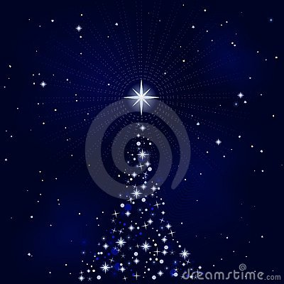 Peacefull starry night with Christmas tree