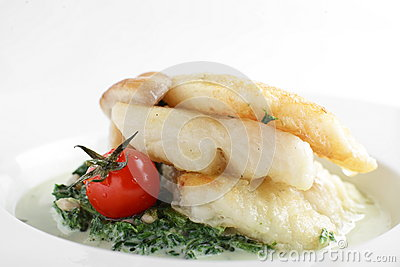 Peaces of fish in white dish