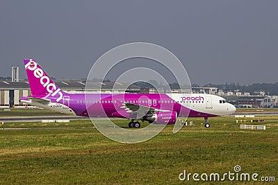 Peach Aviation Airbus A320 Editorial Stock Photo