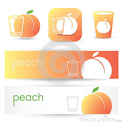 Peach banners and symbols