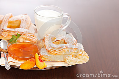 Peach cake and jam with milk for breakfast