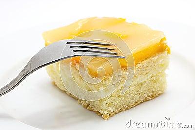 Peach cake on plate