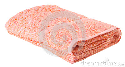 Peach colour blanket on the white background