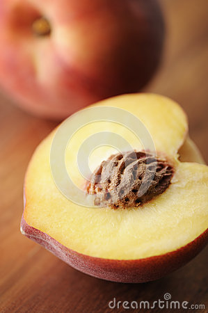 Peach cut in half
