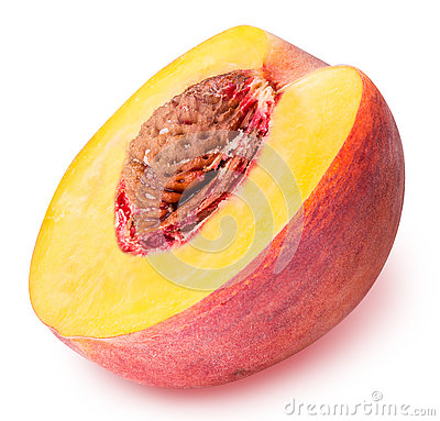 Free Peach Fruit Sliced Isolated On White Background Stock Images - 77646264