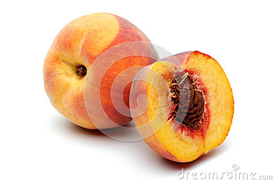 Peach and half peach Stock Photo