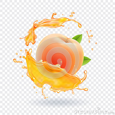 Peach juice. Realistic fresh fruit splash of juice Vector illustration Vector Illustration