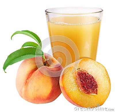 Peach juice with ripe peach