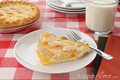 Peach pie with milk