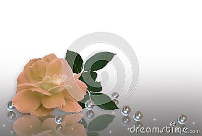 Peach rose and pearls wedding Invitation