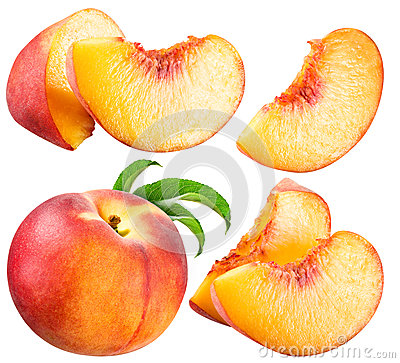 Peach and Slice isolated on white