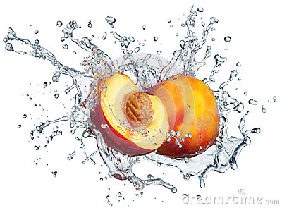 Peach in spray of water.