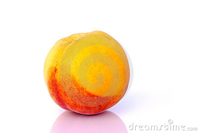 Peach before white background